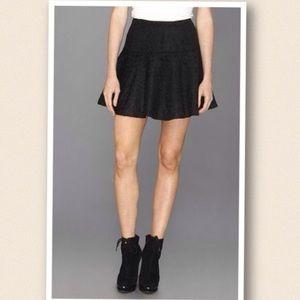 Free People Black Cheetah Mini Skater Skirt